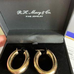 14k classic gold elongated tube hoop earrings NIB